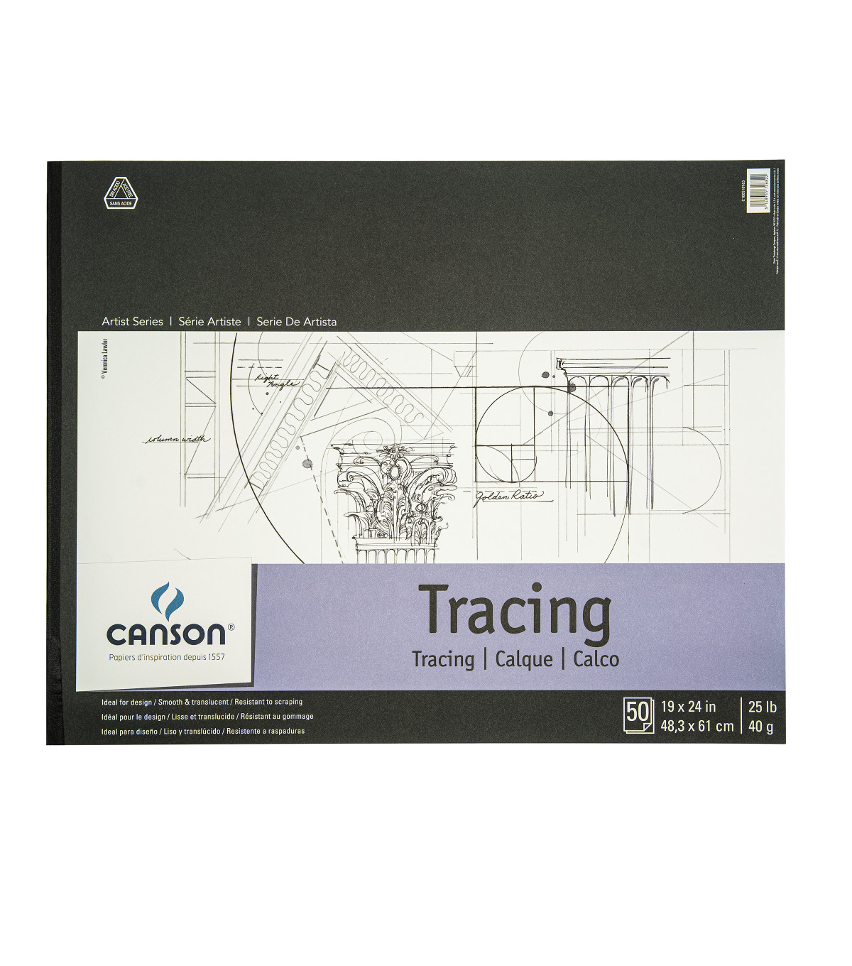 Proart-Canson Foundation Bound Tracing Pad 19\u0022X24\u0022 50 Sheets