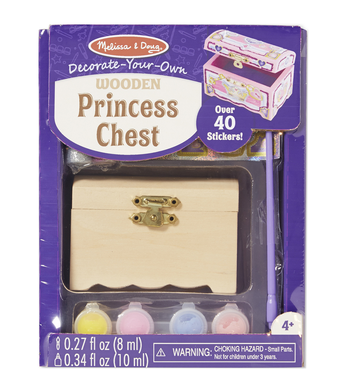 Melissa & Doug Decorate-Your-Own Wooden Princess Chest Craft Kit