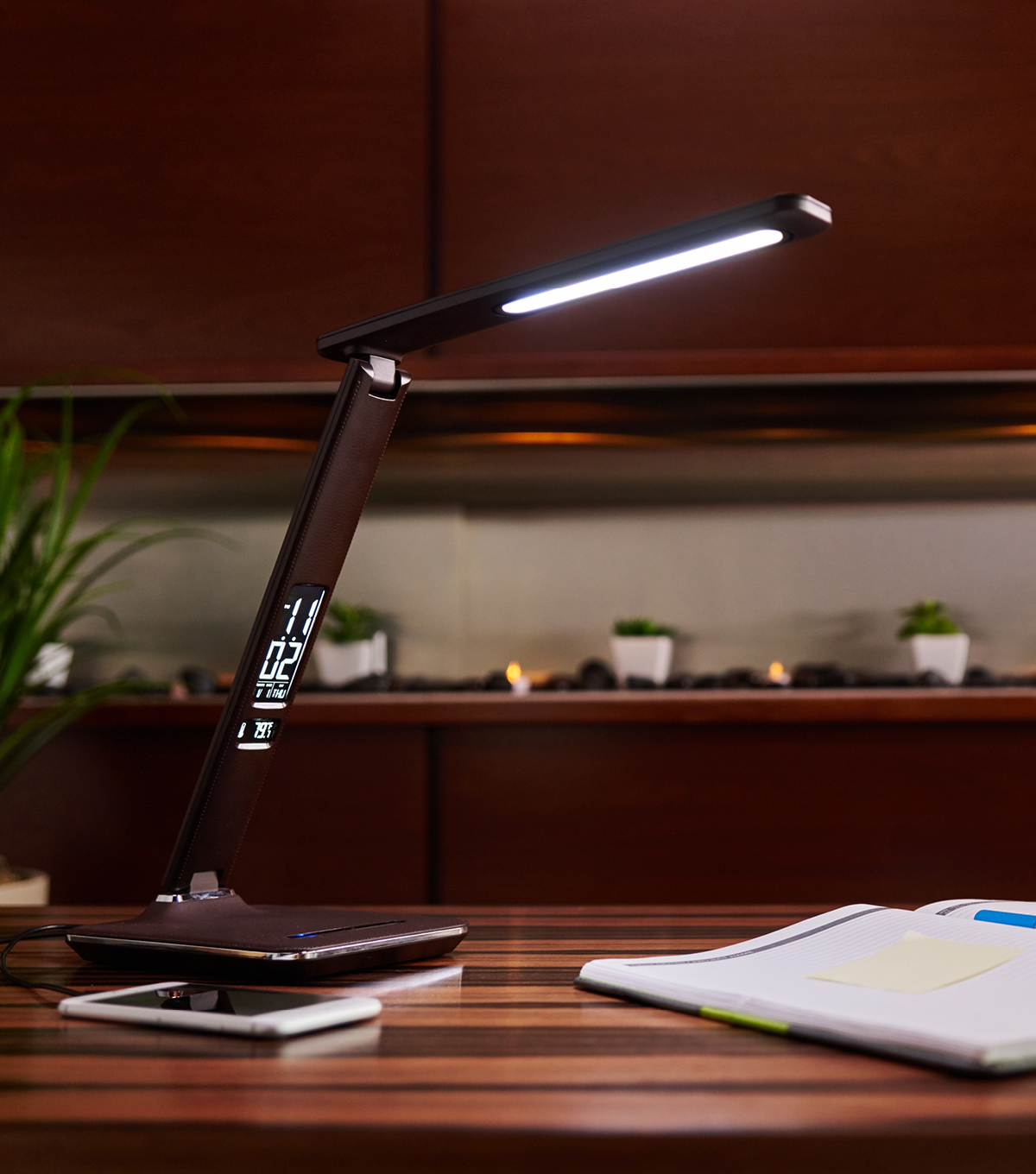 OttLite® Wellness Renew LED Desk Lamp-Brown