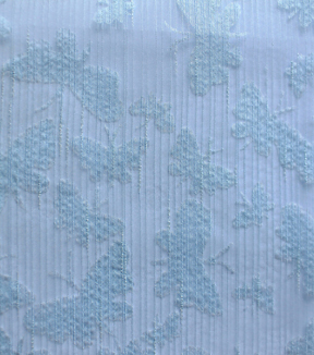 Spring Linen Fabric-Burnout Stripe Butterfly Blue