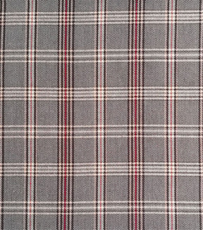 Perfectly Plaid Rayon Fabric 54\u0022-Cream Red Black