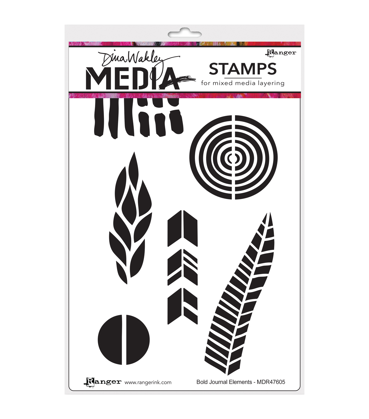 Ranger® Dina Wakley Media Cling Stamps-Bold Journal Elements