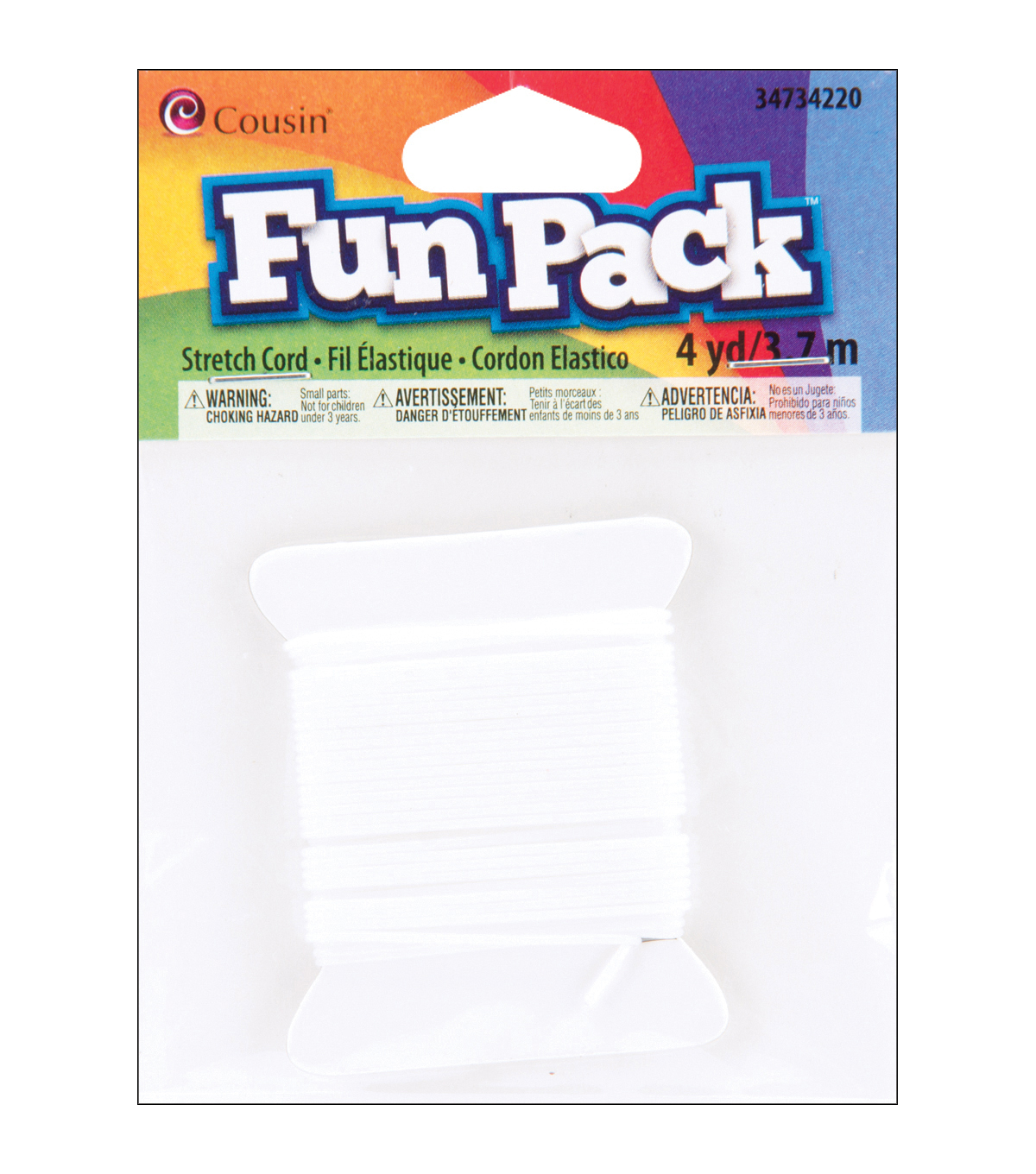 Fun Pack Stretch Cord 4 Yards/Pkg-White