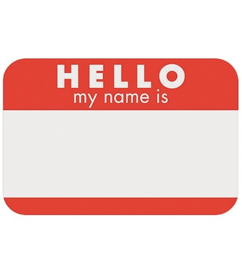 Self-Adhesive Name Tags Hello-Red