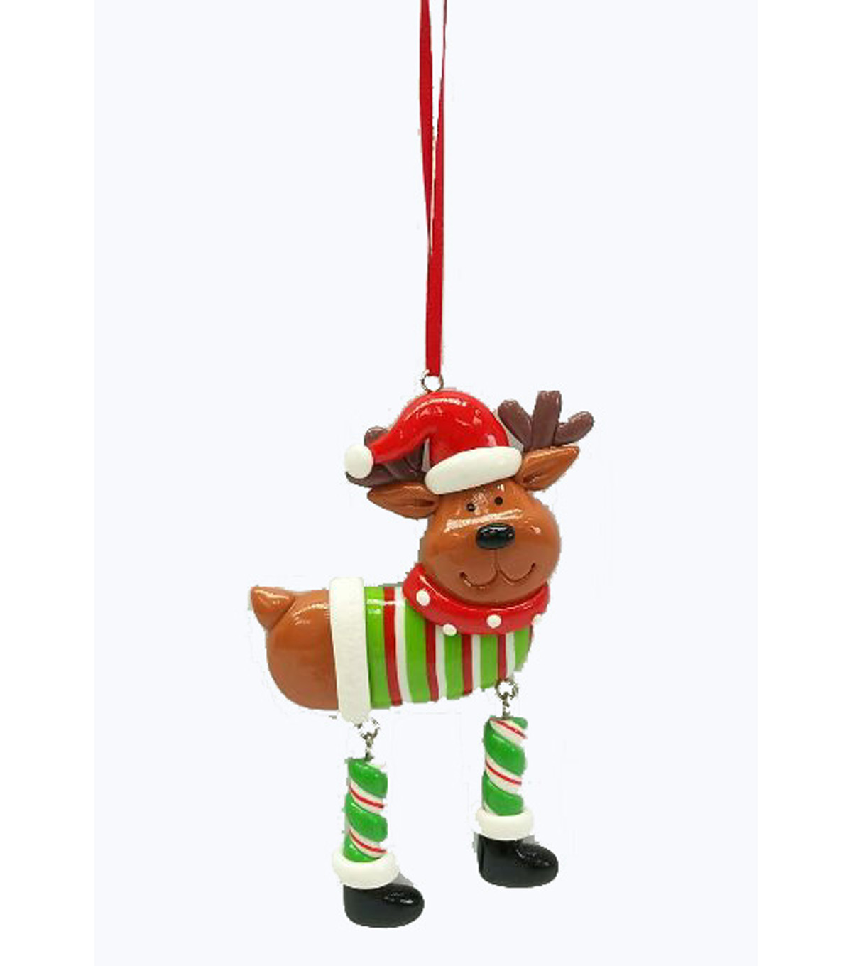 Maker\u0027s Holiday Whimsy Workshop Reindeer with Dangling Legs Ornament