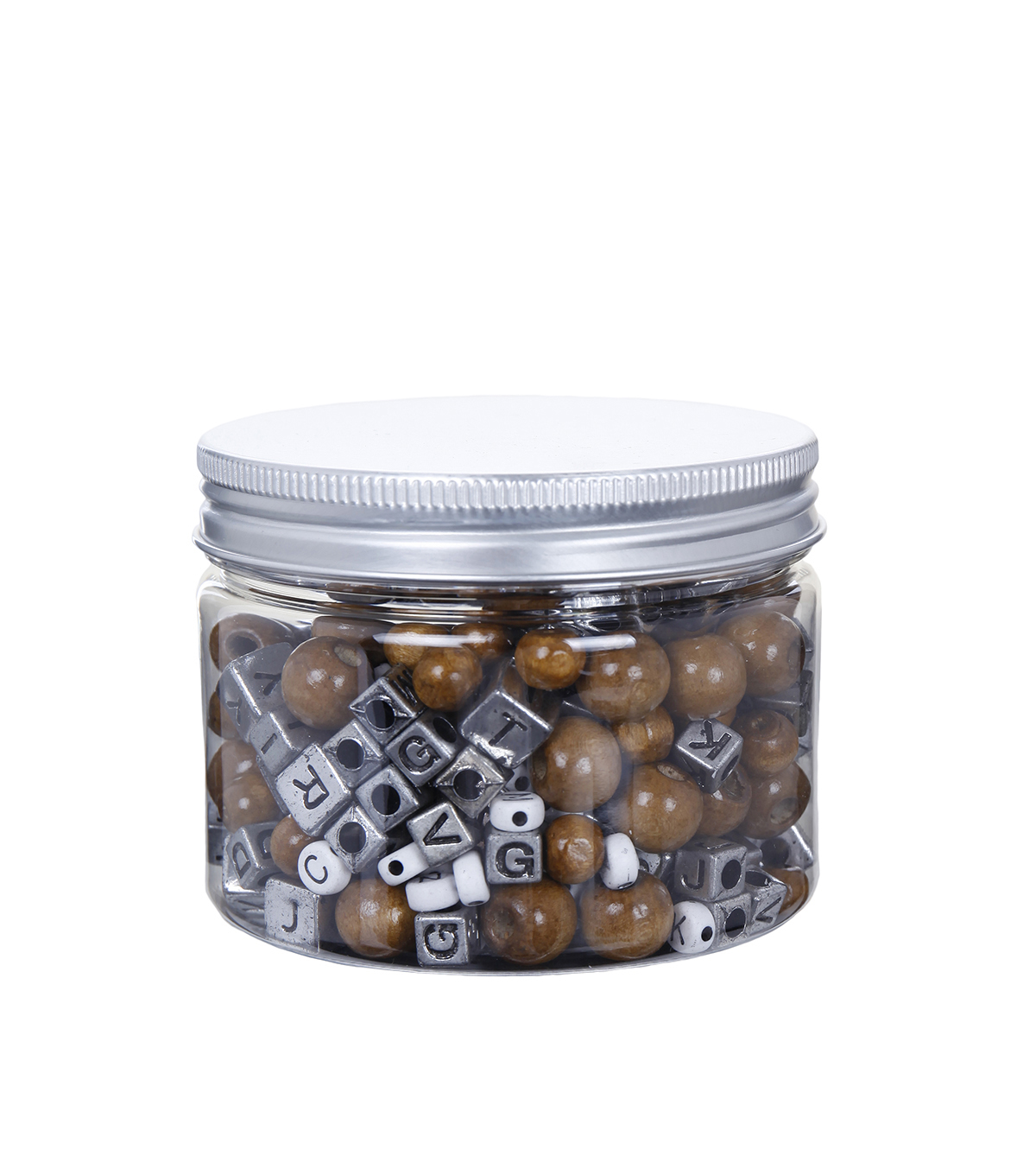 hildie & jo™ Fashion Beads in Plastic Jar-White, Silver & Brown