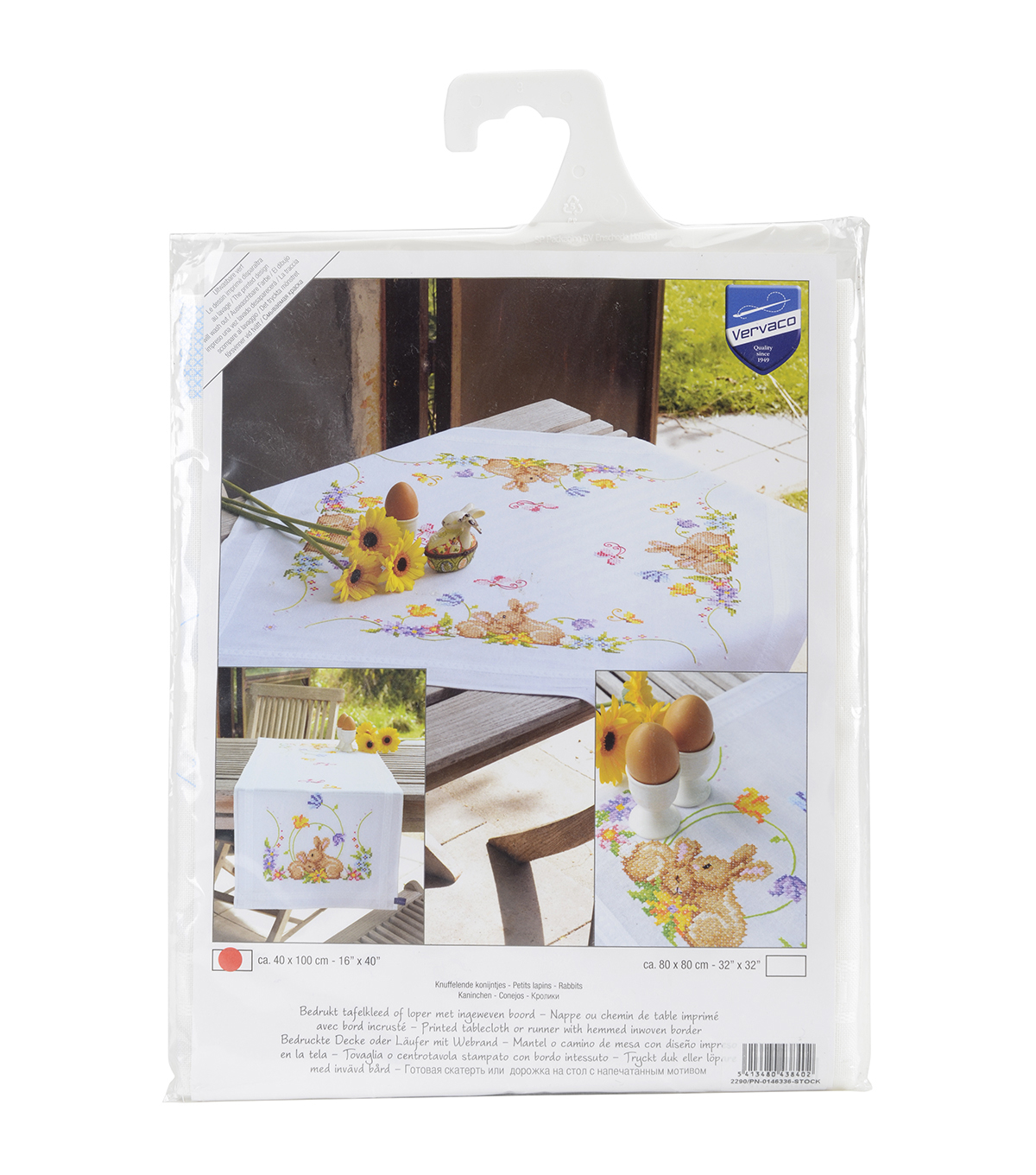 Vervaco Table Runner Stamped Embroidery Kit-Rabbits