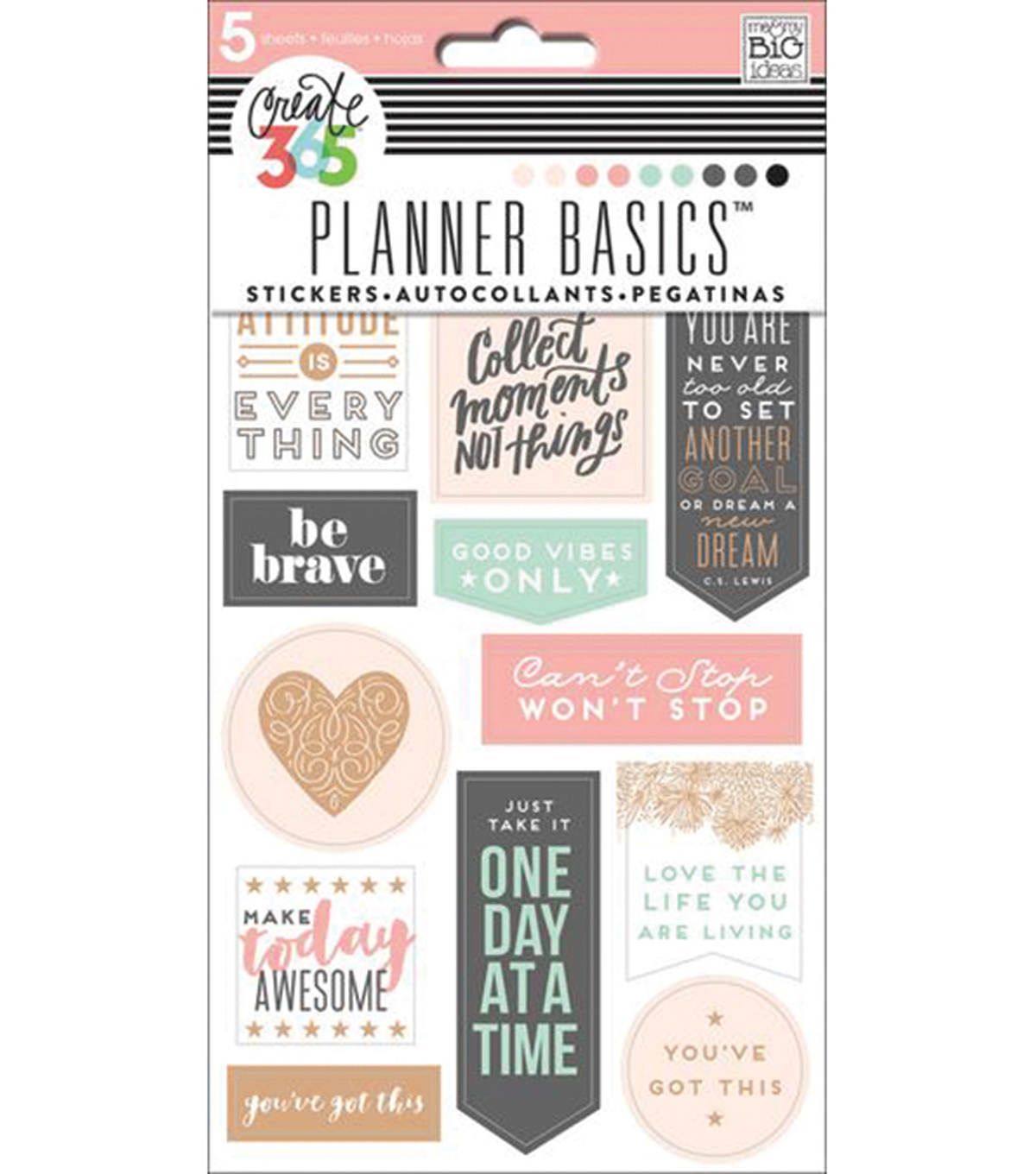 Create 365 Planner Stickers 5 Sheets/Pkg-Rose-Good Vibes