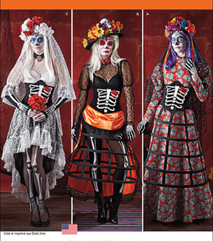 Simplicity Patterns 1033-Misses\u0027 Day of the Dead Costumes