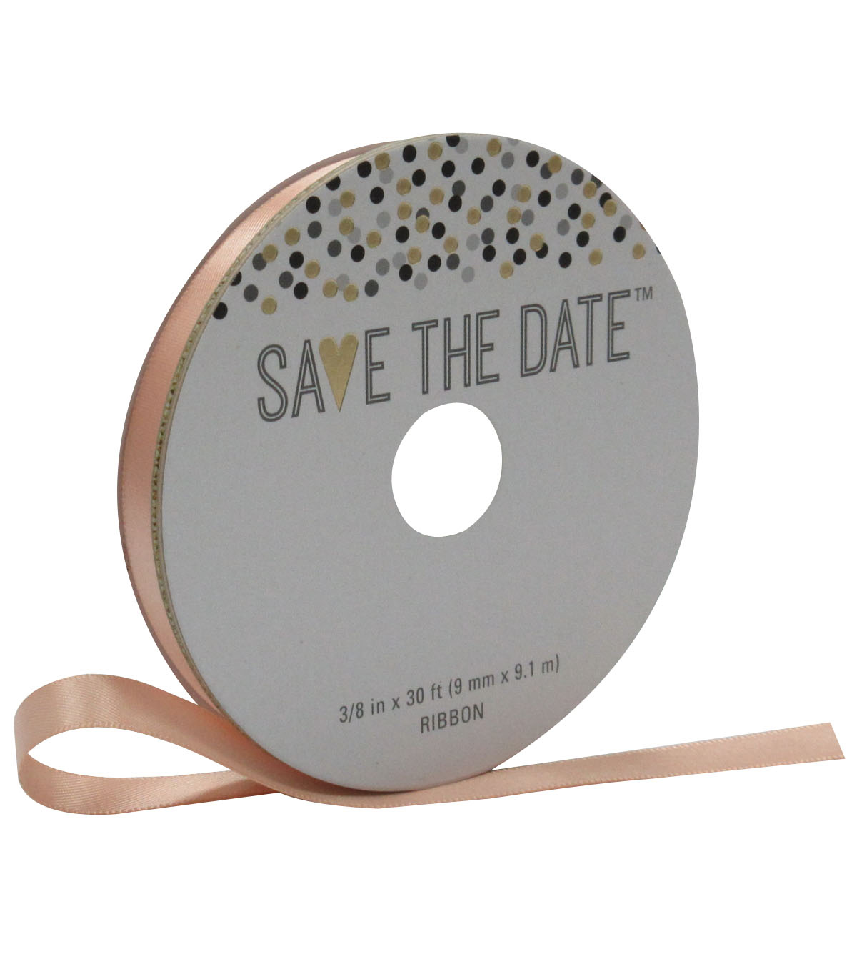 Save the Date 3/8'' X 30' Ribbon-Satin Peach