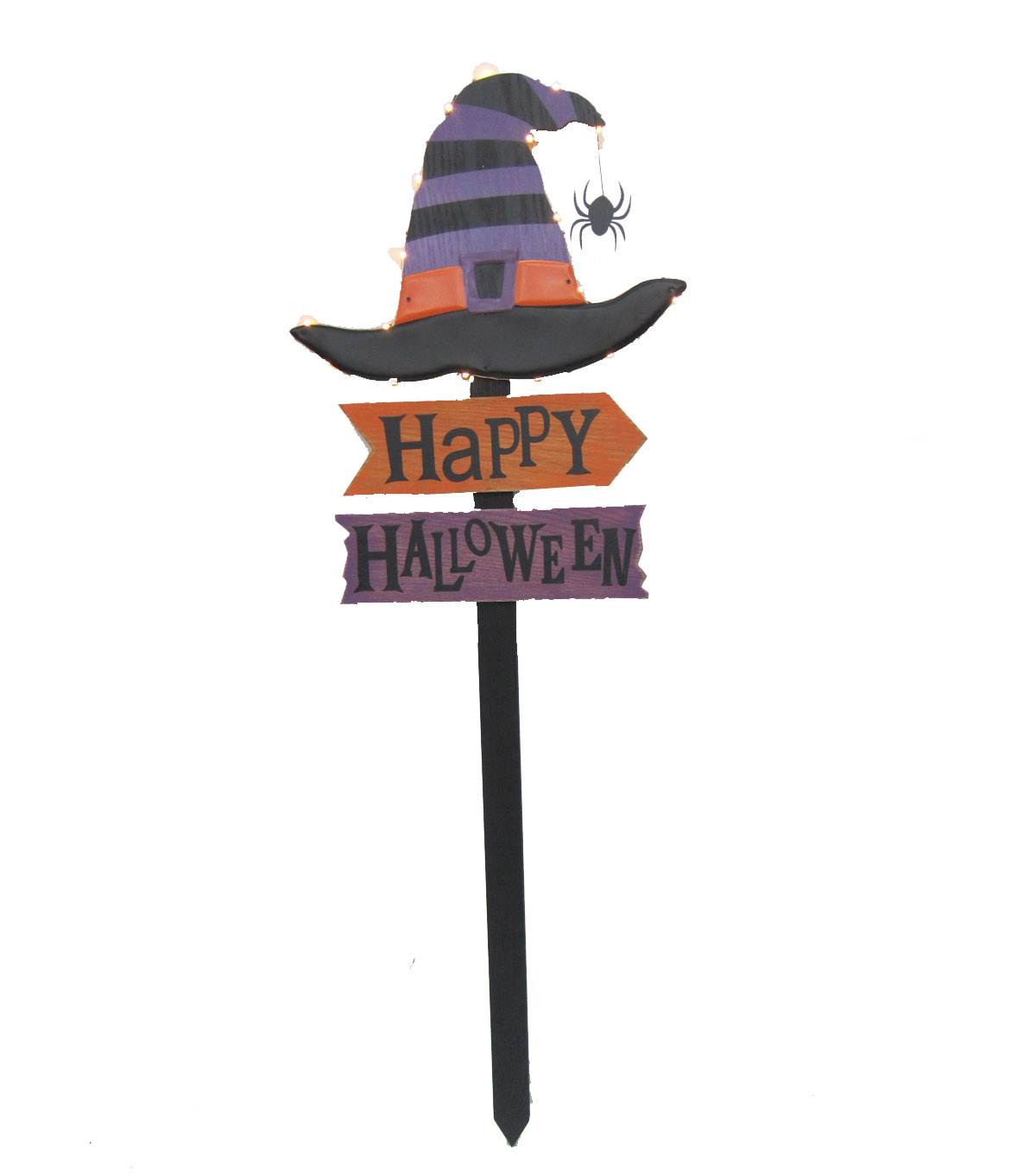 Maker\u0027s Halloween LED Witches Hat Yard Stake-Happy Halloween