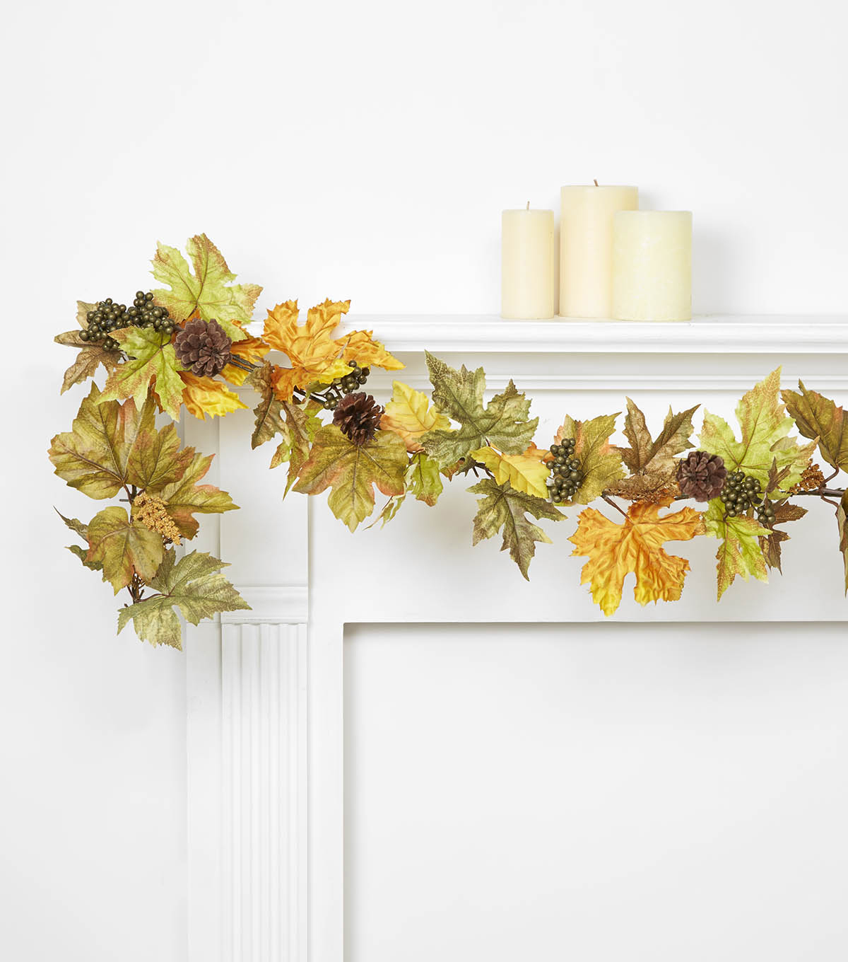 Blooming Autumn Maple Leaves With Berry Garland