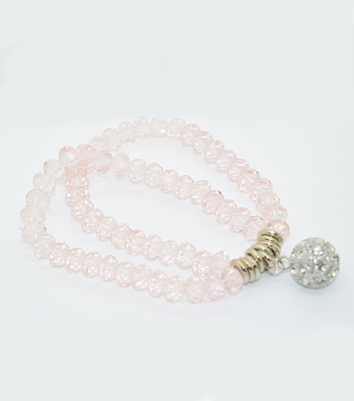 Crystal Two Line Drop Bracelet-Light Pink