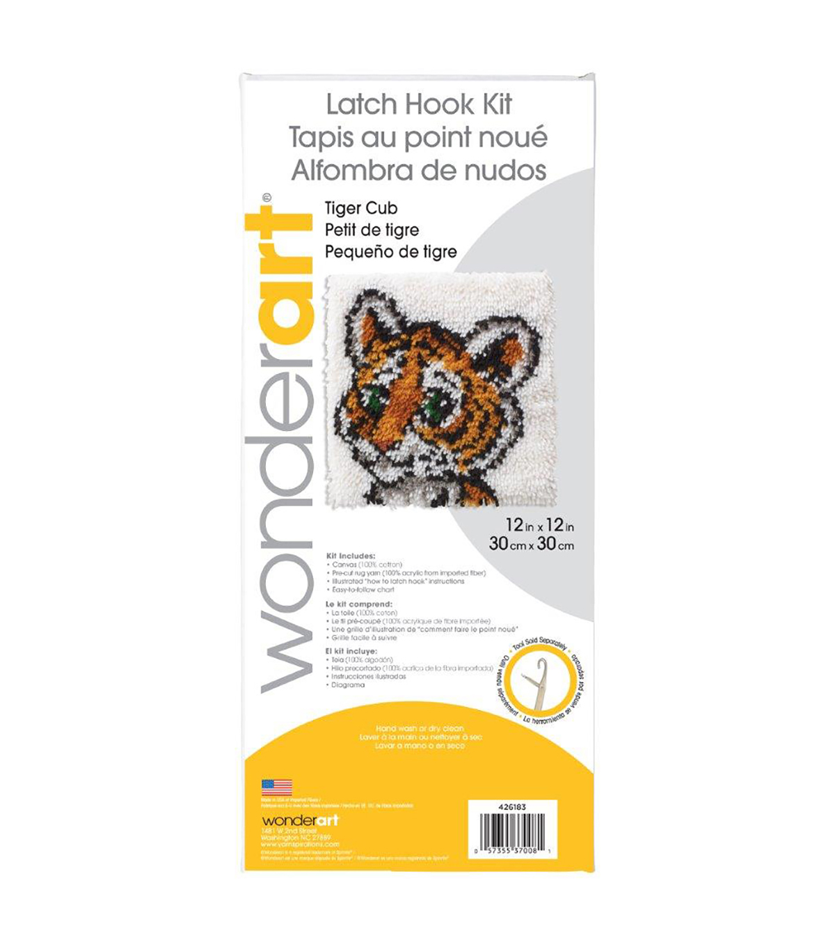 "Wonderart Latch Hook Kit 12""X12""-Tiger Cub"