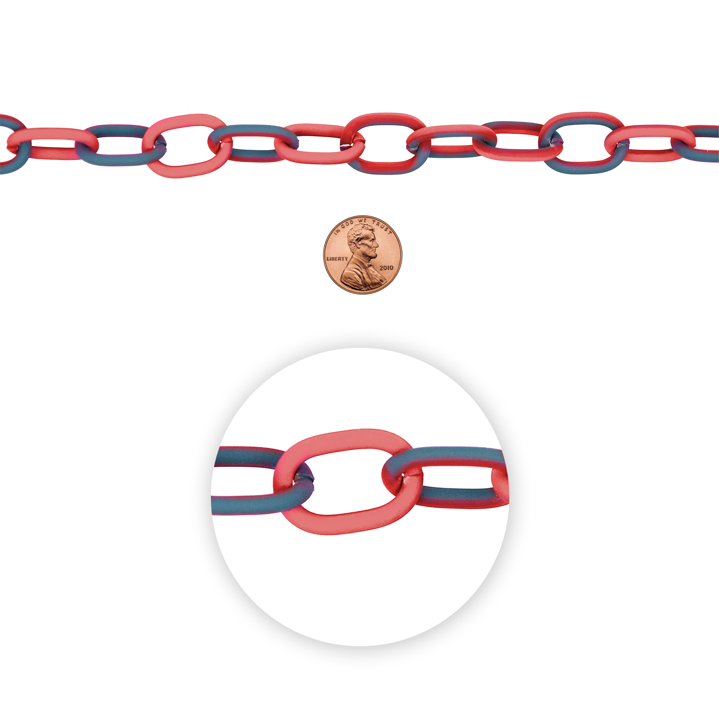 Blue Moon Beads Chain, Oval Link, Coated, Grey-Red