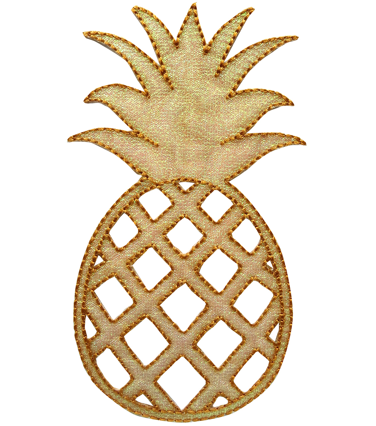 Simplicity® Embroidered Iron-On Applique-Gold Pineapple