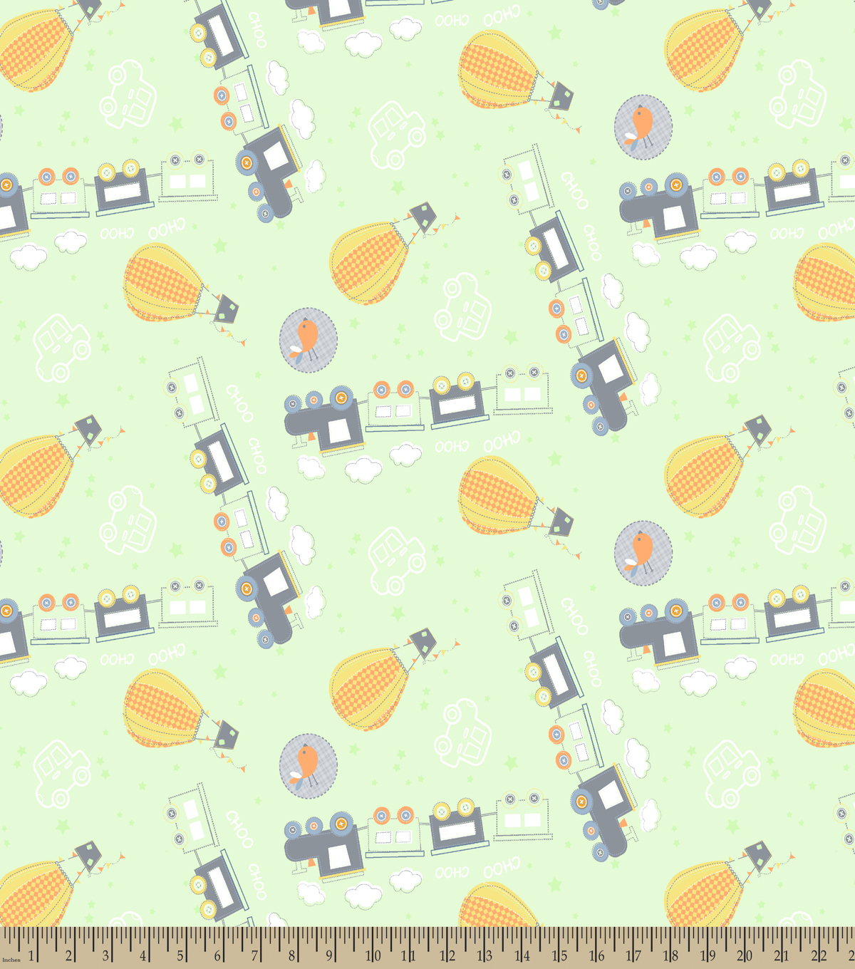 Adventure Train Print Fabric