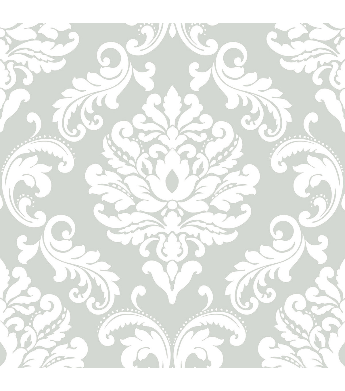 Wallpops Nuwallpaper Peel & Stick Wallpaper-Ariel Gray Damask