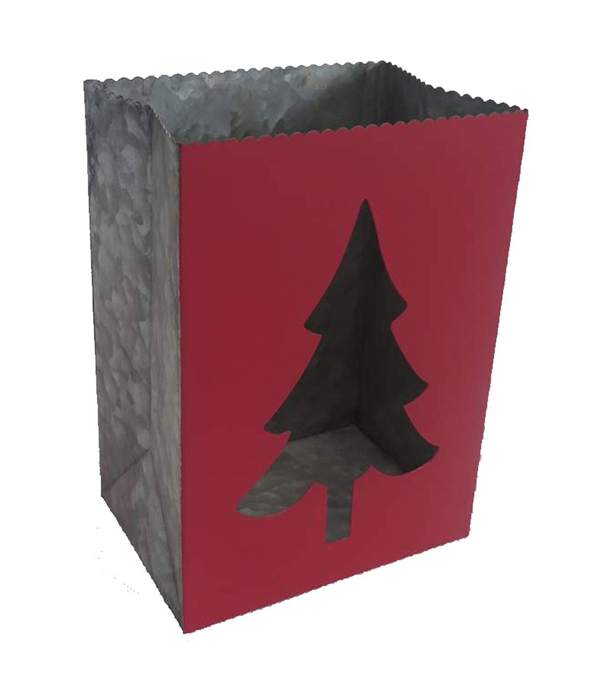 Maker\u0027s Holiday Christmas Galvanized Bag with Tree Cutout-Red