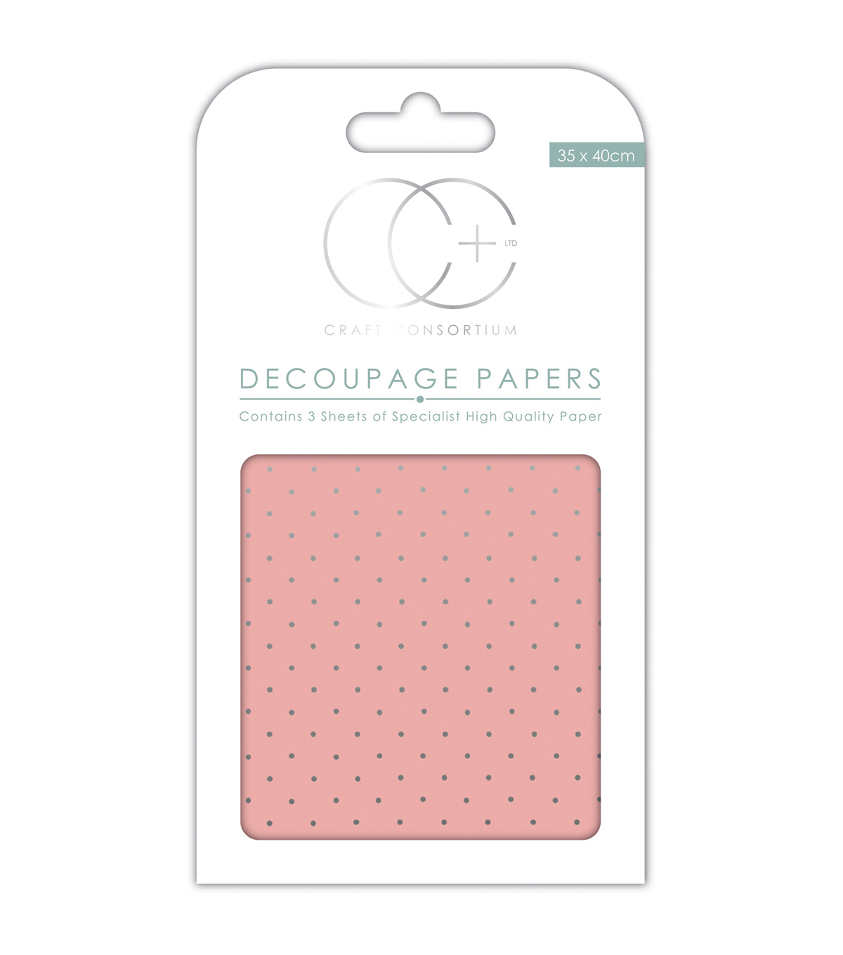 Craft Consortium 3pcs 13.75\u0027\u0027x15.75\u0027\u0027 Decoupage Papers-Pink W/Silver Dot