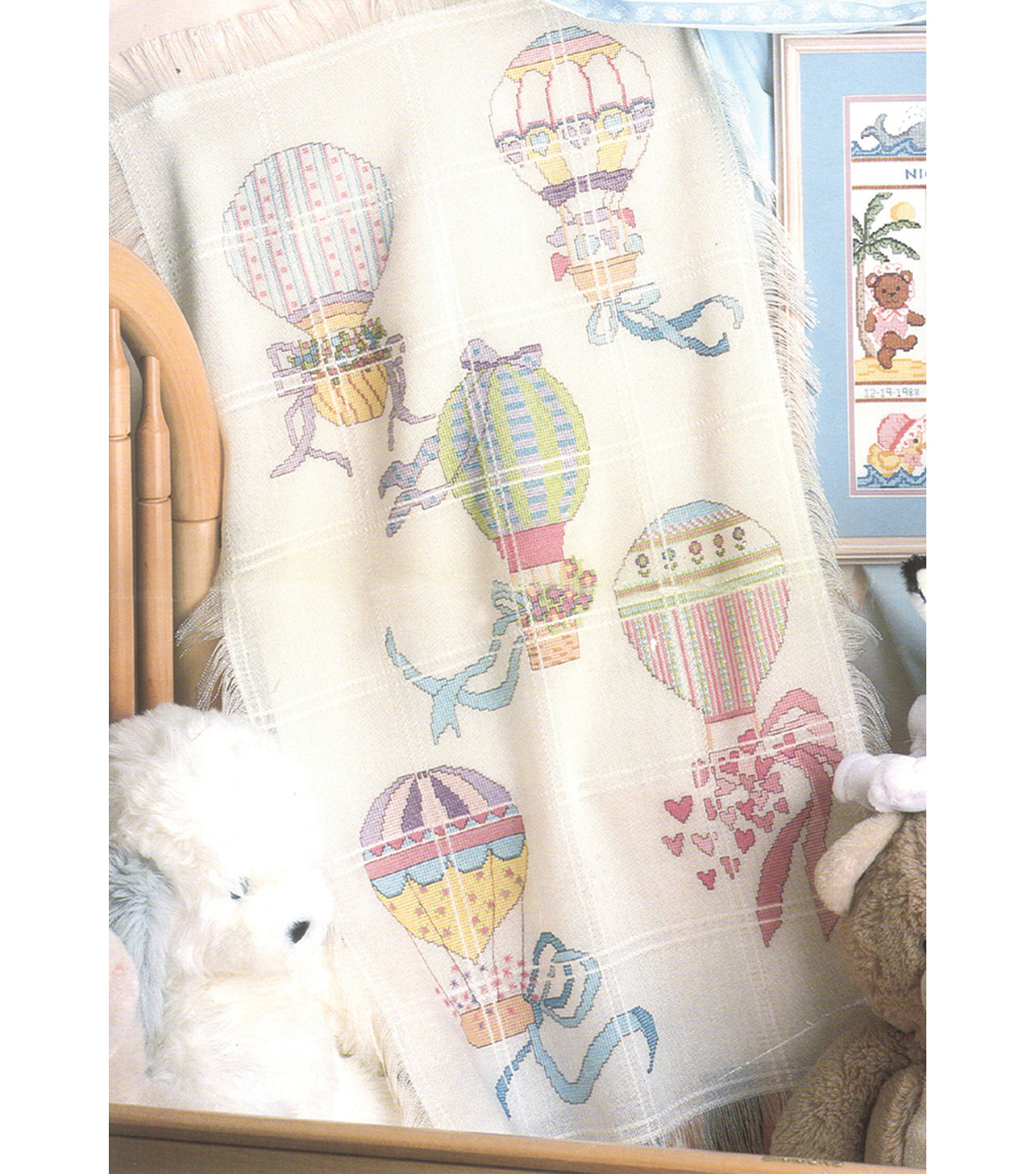 "Hot Air Balloons Baby Afghan Counted Cross Stitch Kit-29""X45"" 18 Count"