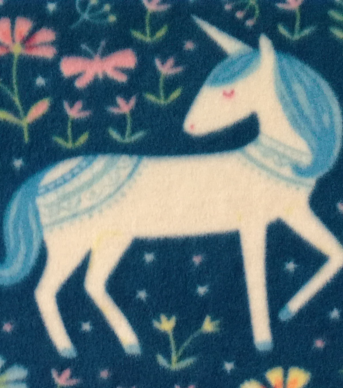 Anti-Pill Fleece Fabric 59\u0022-Pretty Unicorns Teal