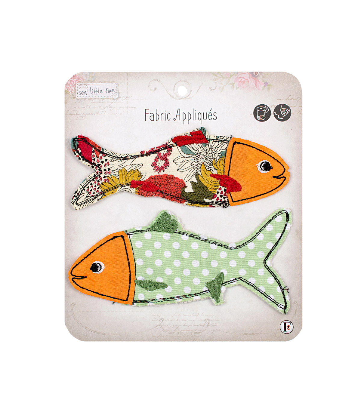 Fabric Editions Sew Little Time 2 Pack Fabric Appliques-Fish