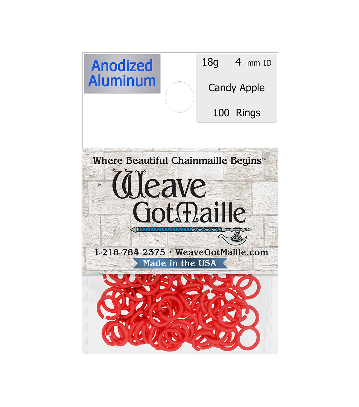 Weave Got Maille Pack of 100 4 mm Jump Rings-Candy Apple