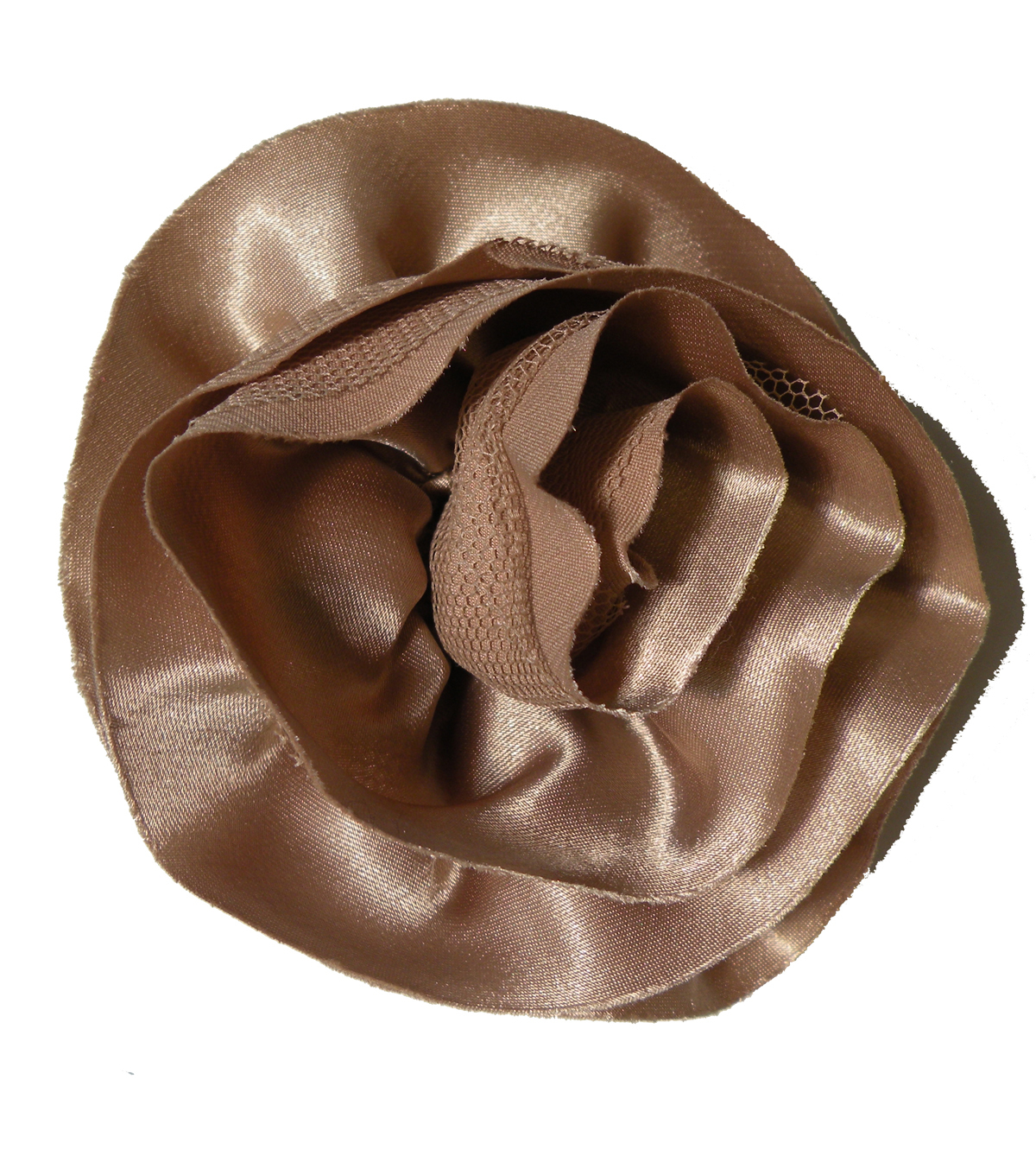 Satin Netted Flower Pin Tan