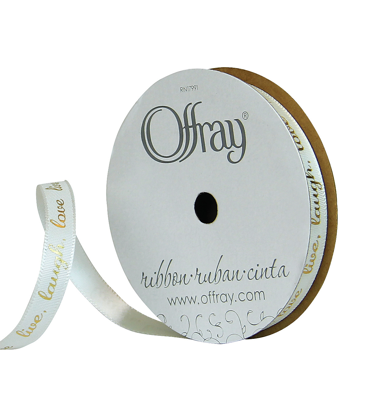 Offray 3/8\u0022x9\u0027 Live Laugh Love Faith Single Faced Satin Ribbon-Antique White and Gold