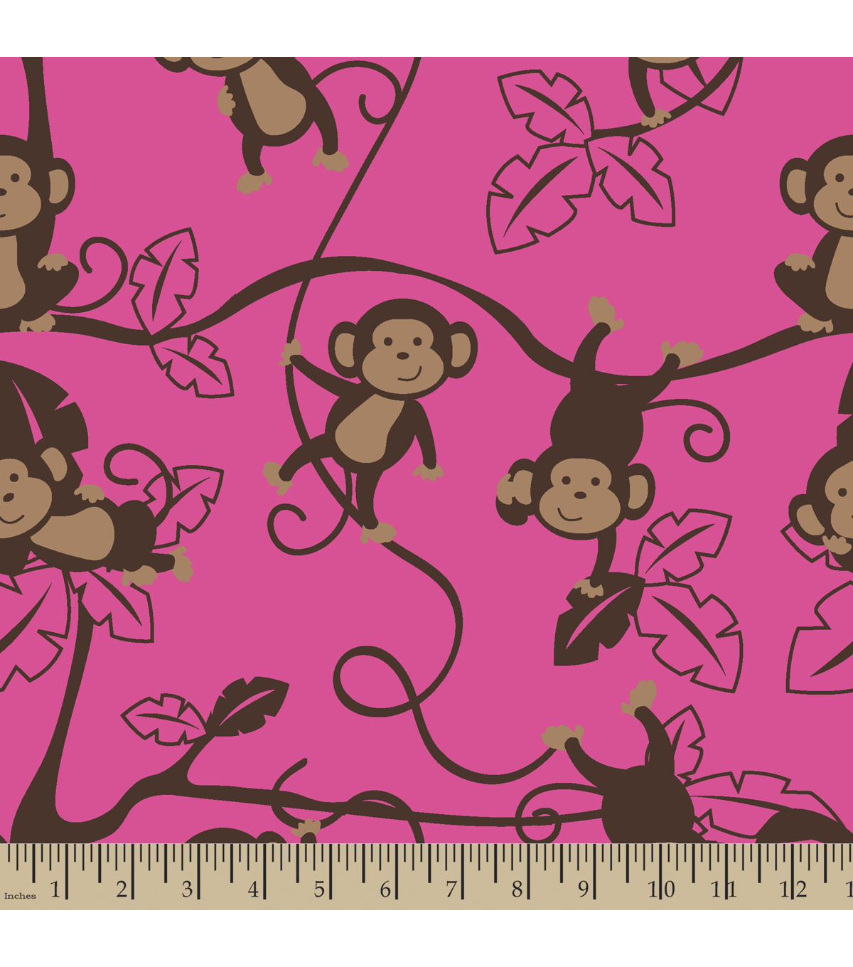 Anti-Pill Fleece Fabric Monkey Around Pink