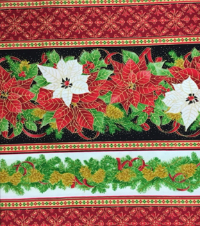 Maker\u0027s Holiday Cotton Fabric 44\u0022-Poinsettia and Pine