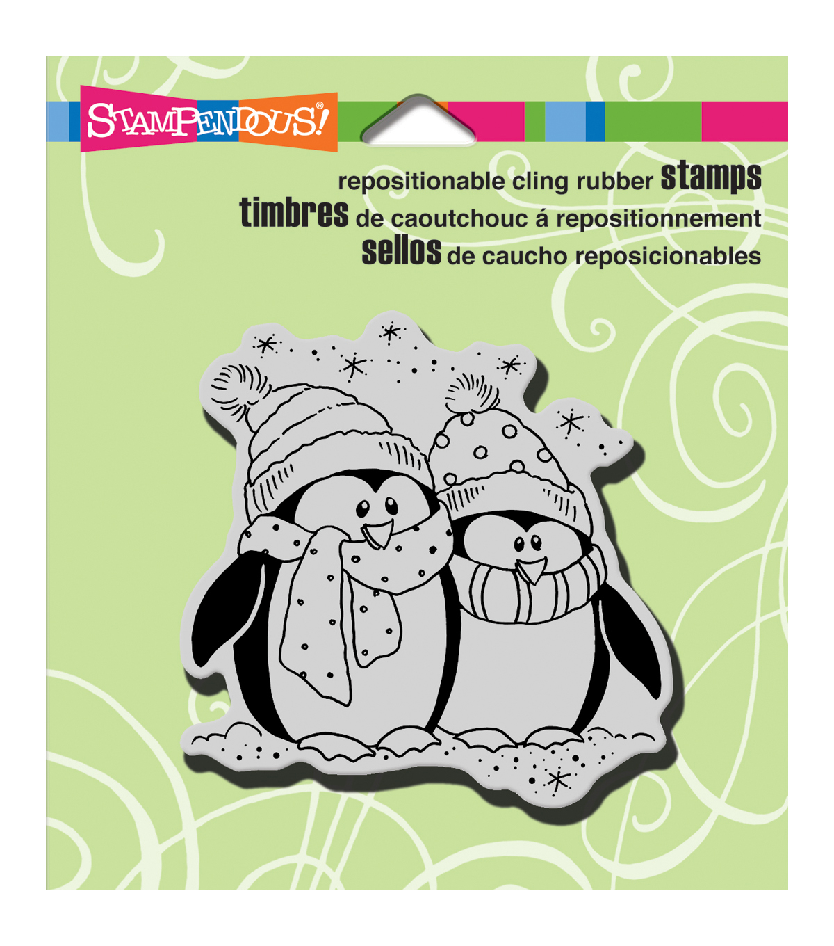 Stampendous Bundle Penguins Christmas Cling Rubber Stamp 3.5\u0027\u0027x4\u0027\u0027