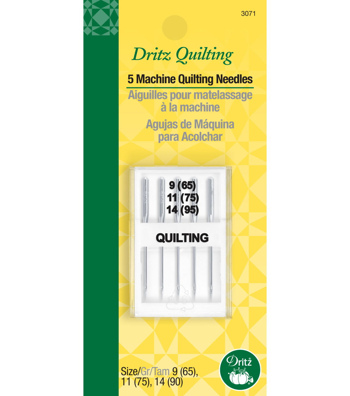 Dritz Quilting Machine Quilting Needles Sizes 9,11 & 14