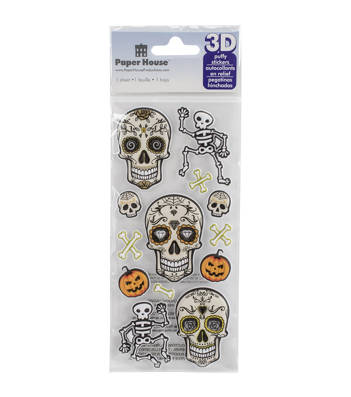 Paper House® Puffy Stickers-Skeletons
