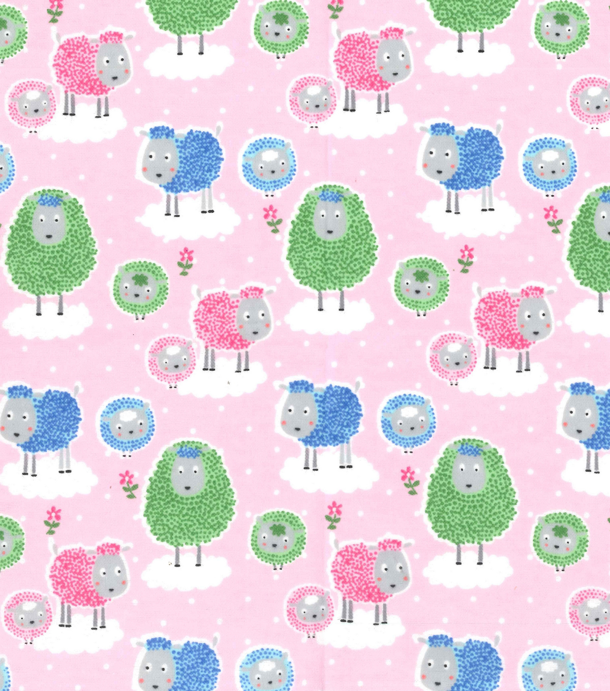 Snuggle Flannel Fabric 42\u0027\u0027-Sheepies on Pink