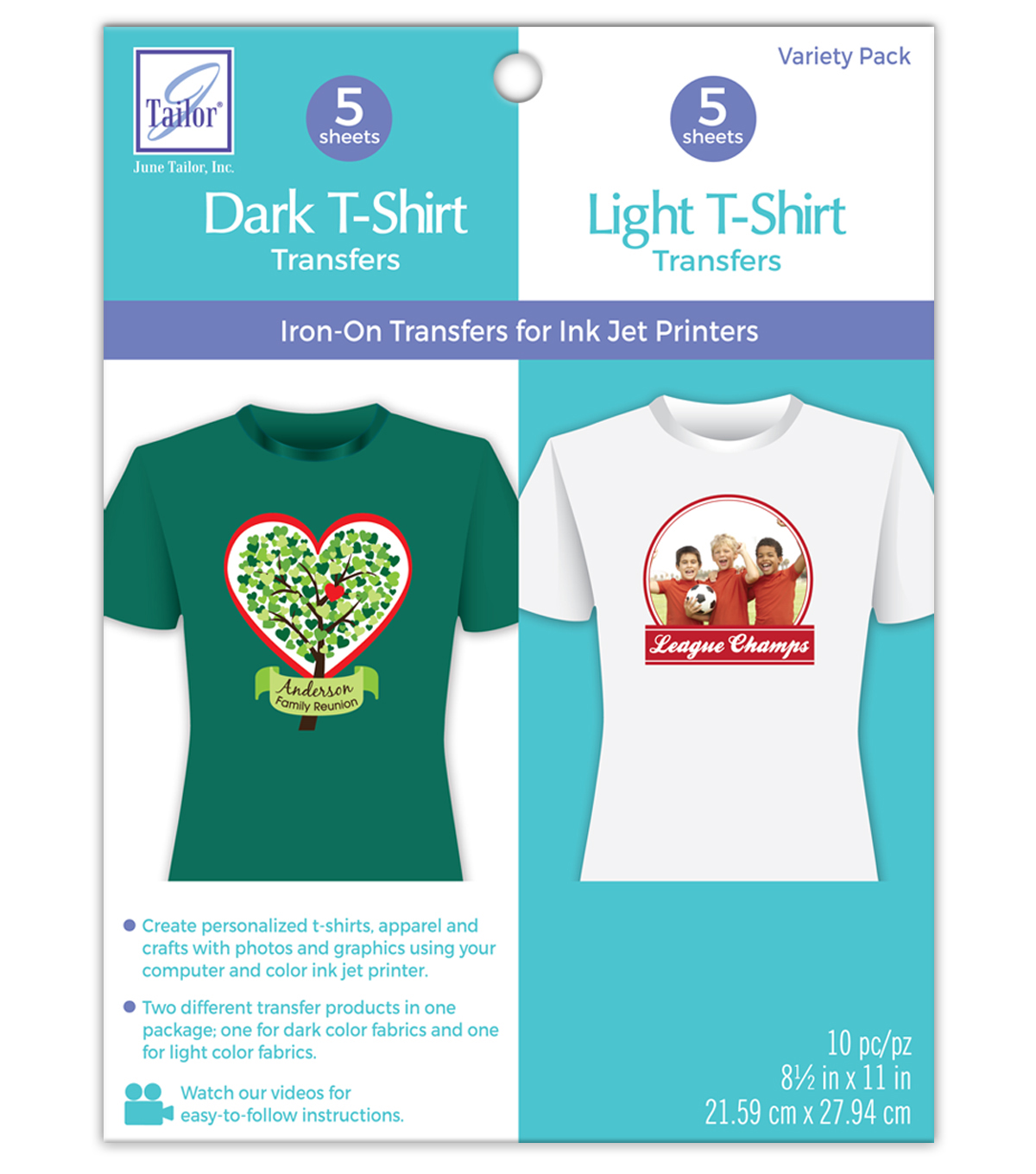 June Tailor® Variety Pack Dark T-Shirt and Light T-Shirt Transfers, 8.5\u0022 x 11\u0022 size