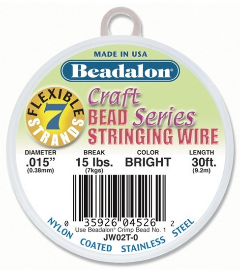 Beadalon Craft Series .015\u0022 7-Strand Stringing Wire-30ft/Brights