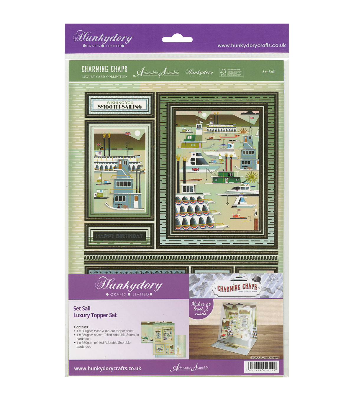 Hunkydory Crafts Charming Chaps A4 Topper Set-Set Sail