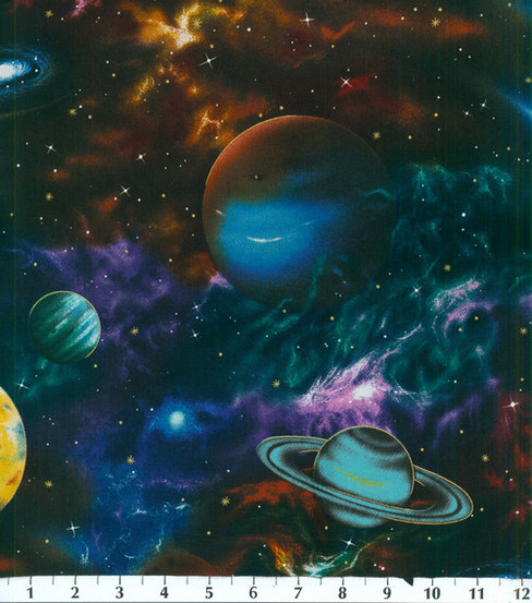 Novelty cotton fabric 44 large planets joann for Space fleece fabric