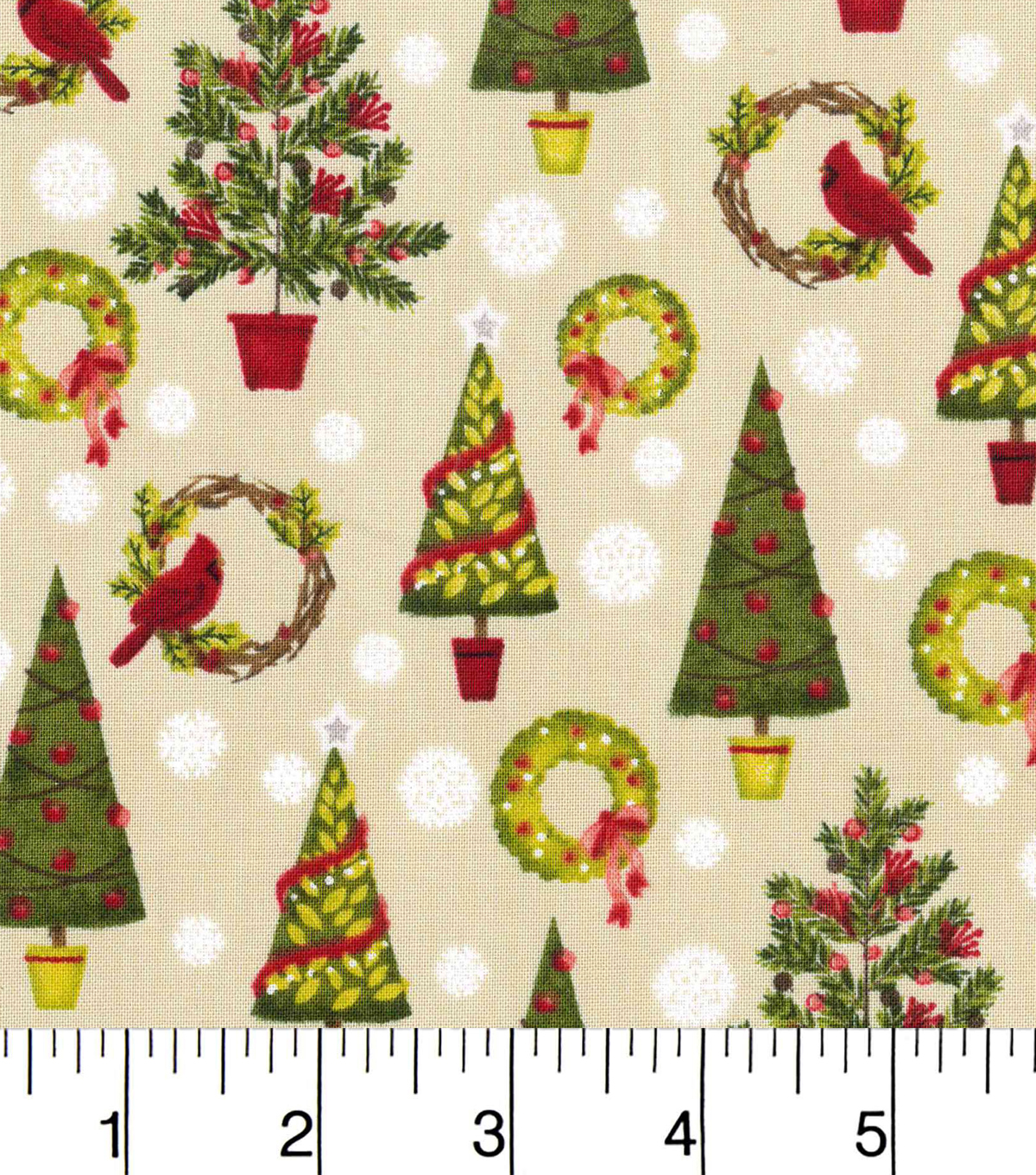 "Keepsake Calico™ Holiday Cotton Fabric 43""-Trees and Wreaths"