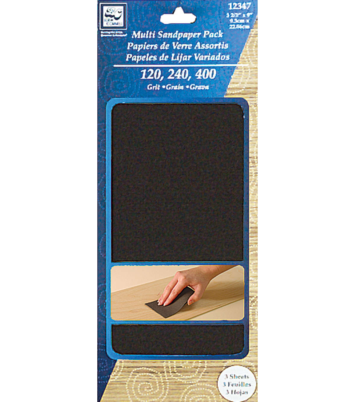 Multipack Sandpaper 3-2/3\u0022X9\u0022 3/Pkg-1 Sheet Each Of Fine,medium,coarse
