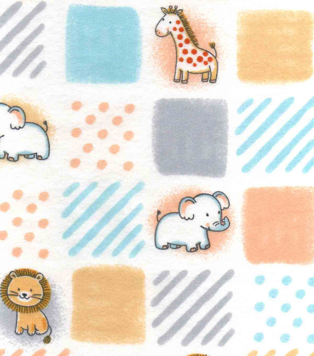 Nursery Flannel Fabric 42\u0022-Safari Patchwork