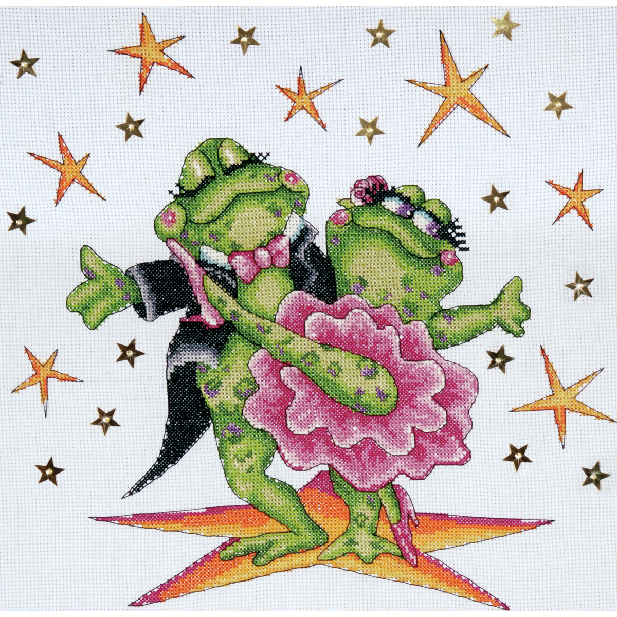 Tobin Counted Cross Stitch Kit Dancing Frogs