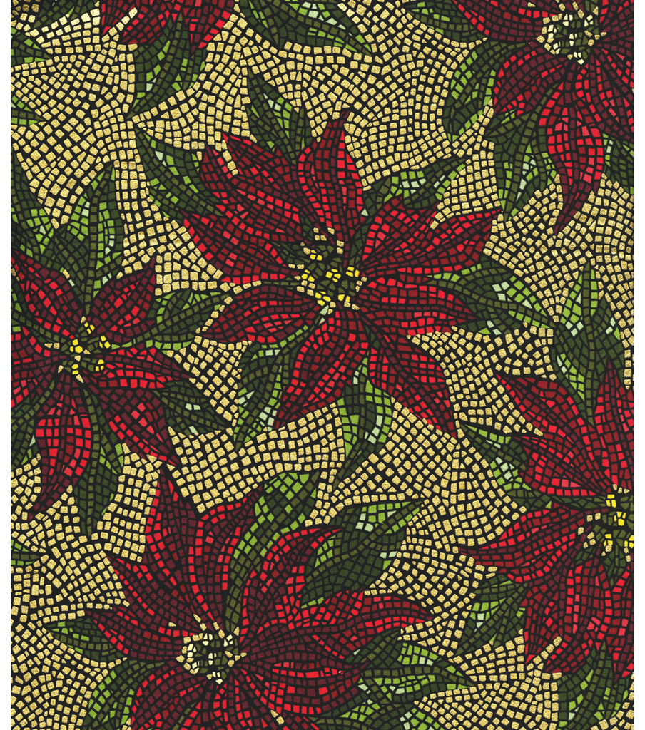 Maker\u0027s Holiday Cotton Fabric 44\u0022-Stained Glass Poinsettia