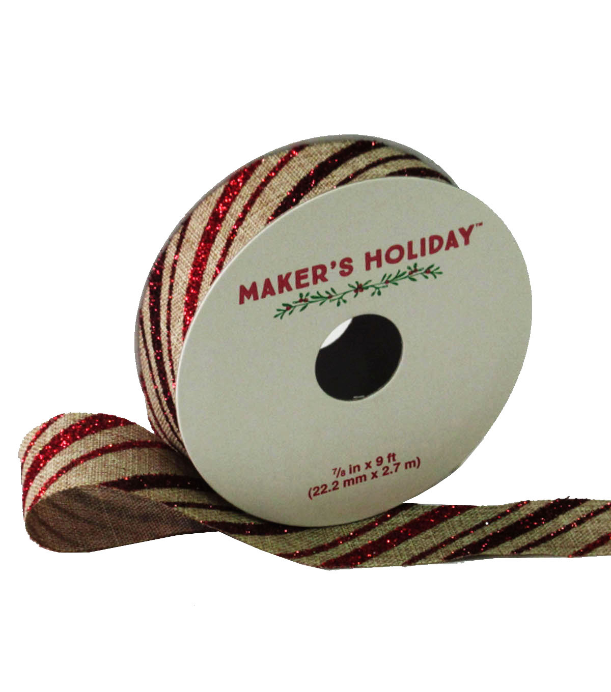 Maker's Holiday Linen Twill Ribbon 7/8''x9'-Red & Gold
