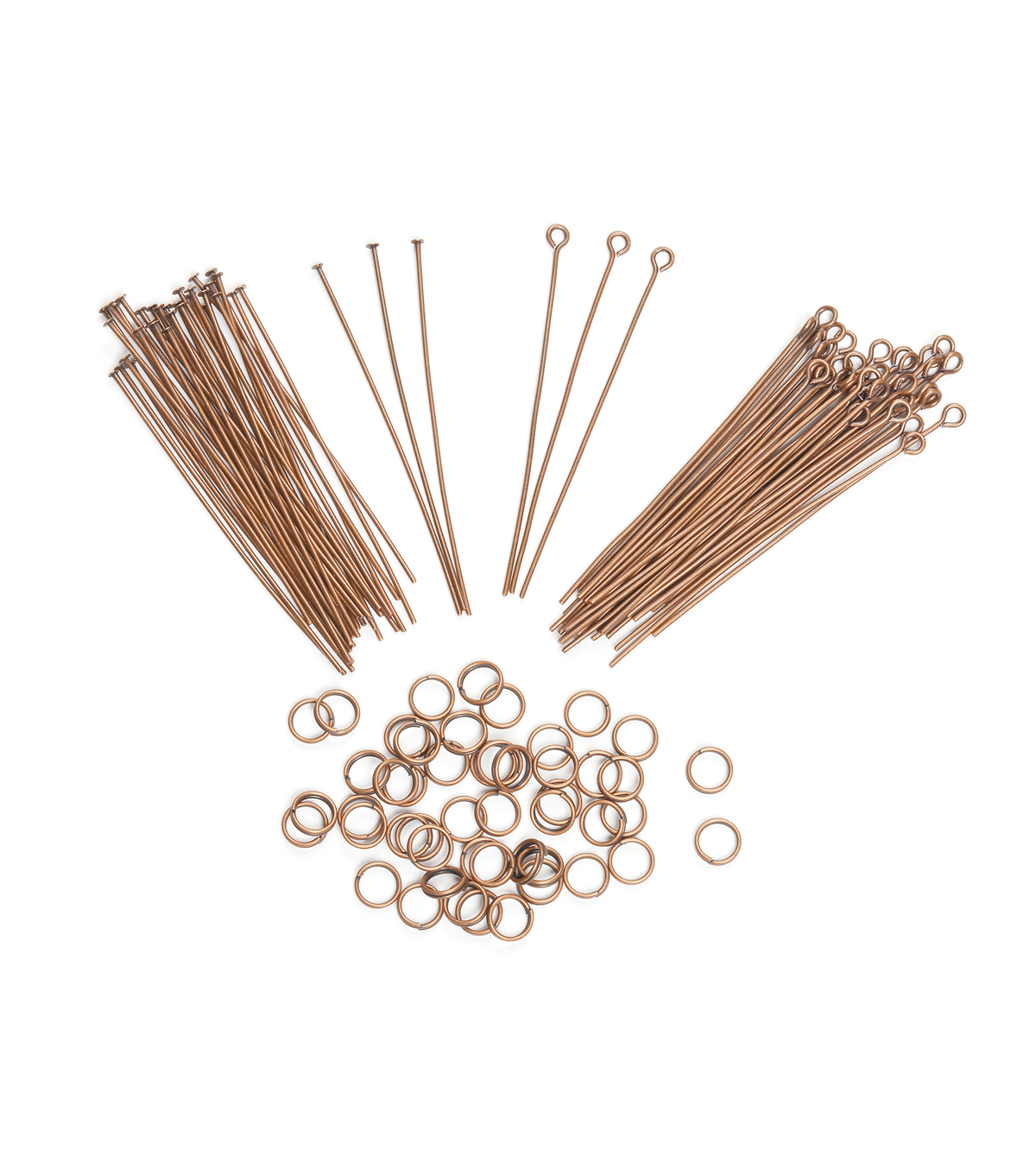 Jewelry Finding Assortment Eye pin/Headpin/Jump Ring, Ant. Copper, 122pc.