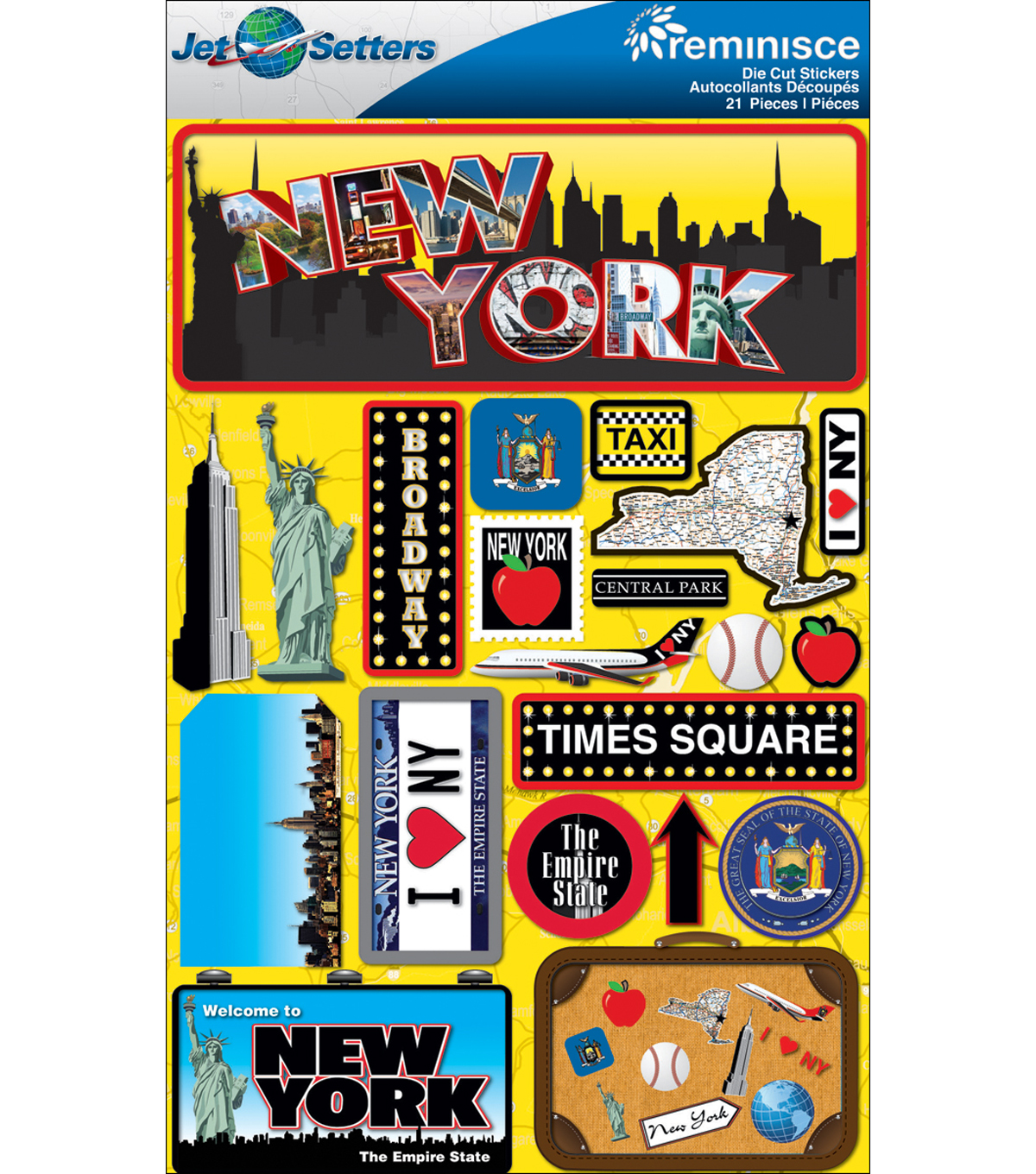 Jet Setters Dimensional Stickers-New York