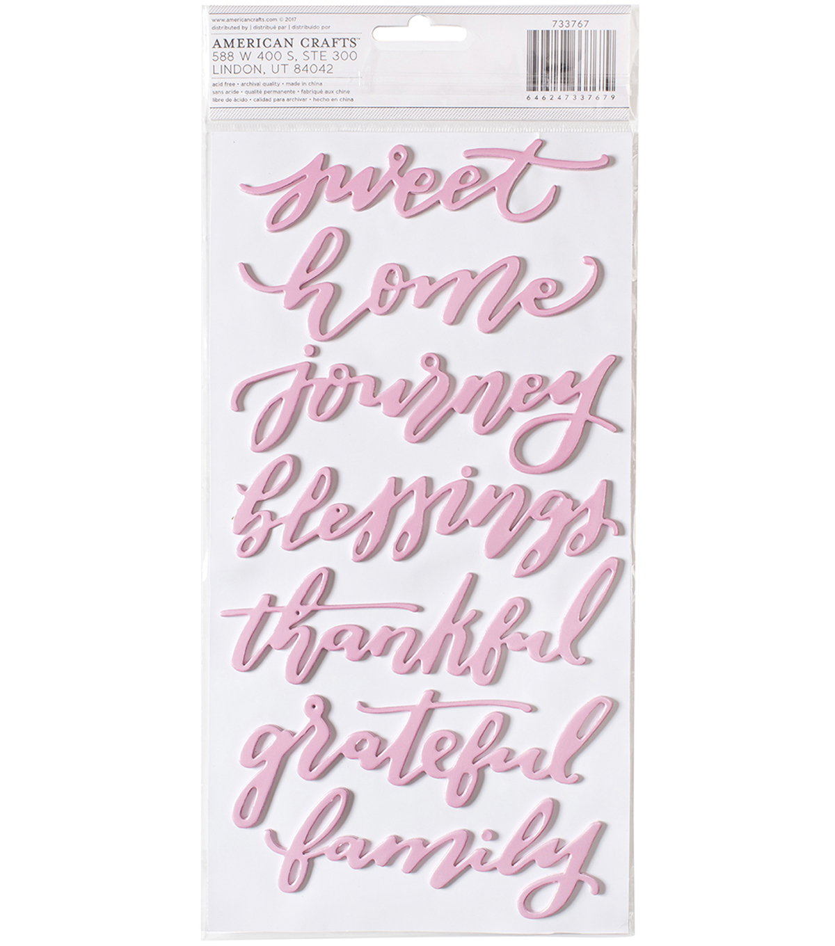 Heart Of Home Thickers Stickers 5.5\u0022X11\u0022-Words/Pink Foiled Foam