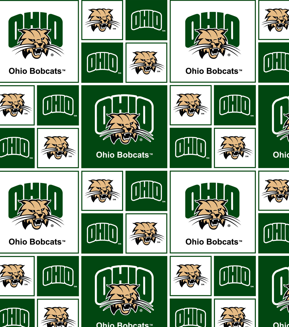"Ohio University Bobcats Cotton Fabric 43""-Block"